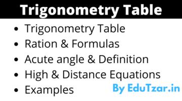 Trigonometry Table in Hindi | Trigonometric Formula Ratio and Angle